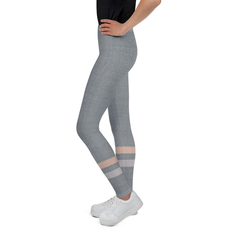 Gray-Cream-sporty-stripes-elegant-youth-leggings-for-teens