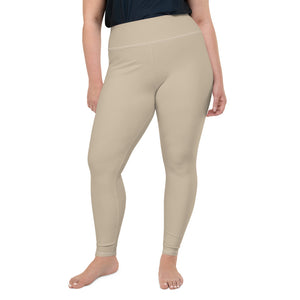 neutral-solid-sand-beige-plus-size-leggings