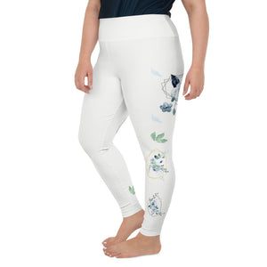 Roses-white-blue-green-gold-elegant-women-plus-size-leggings-2