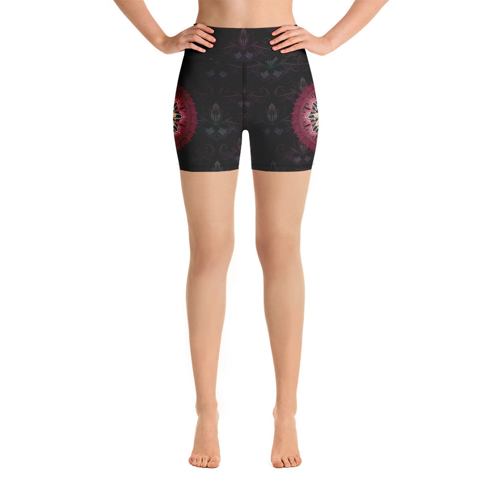 black-and-redish-pink-mandala-chic-yoga-shorts-shop-women