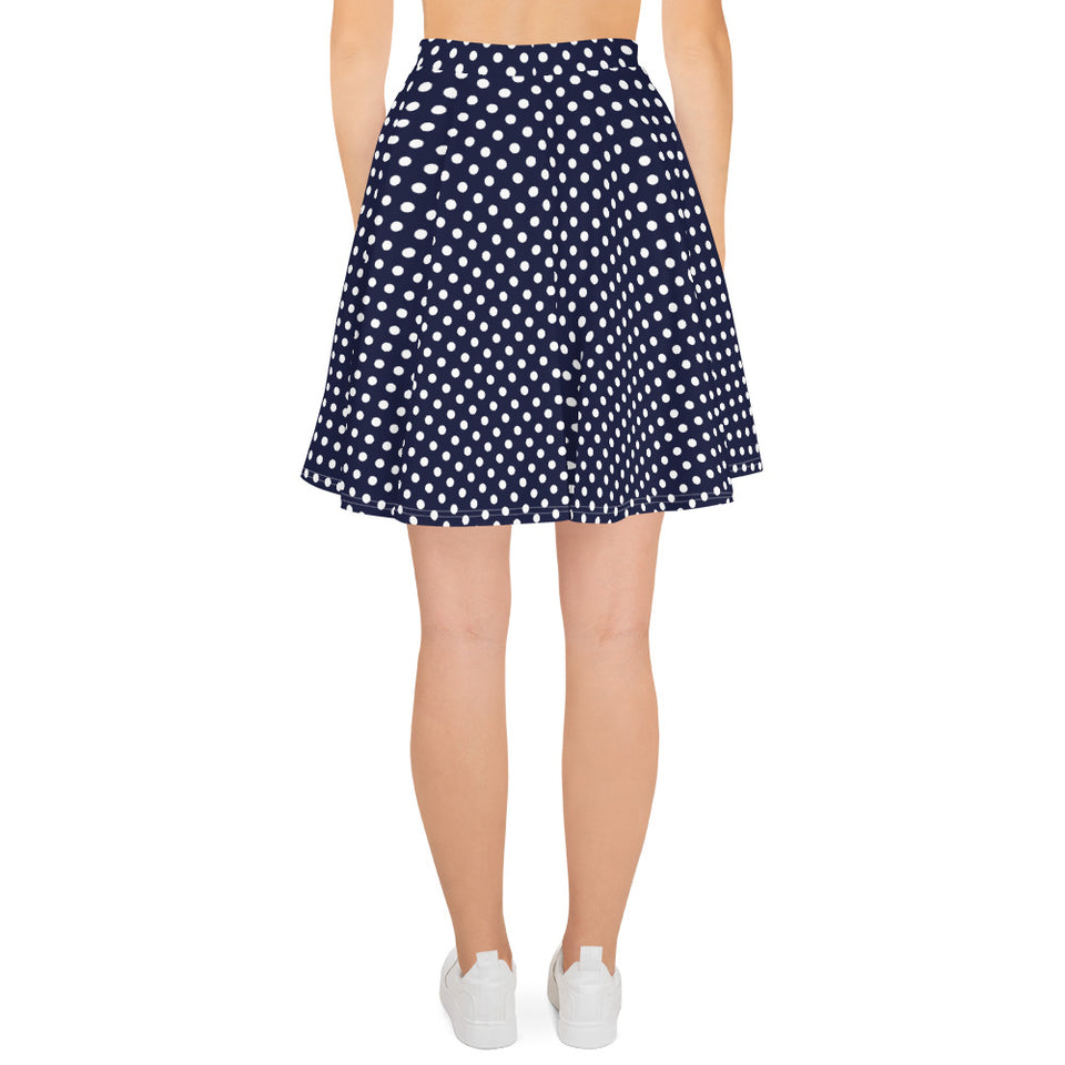 Polka Dots Navy White Skater Skirt for Women