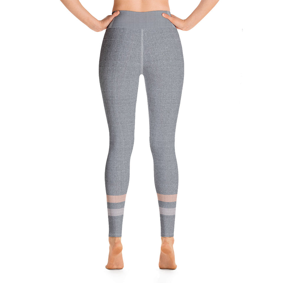 Gray-Cream-sporty-stripes-elegant-women-yoga-leggings-3