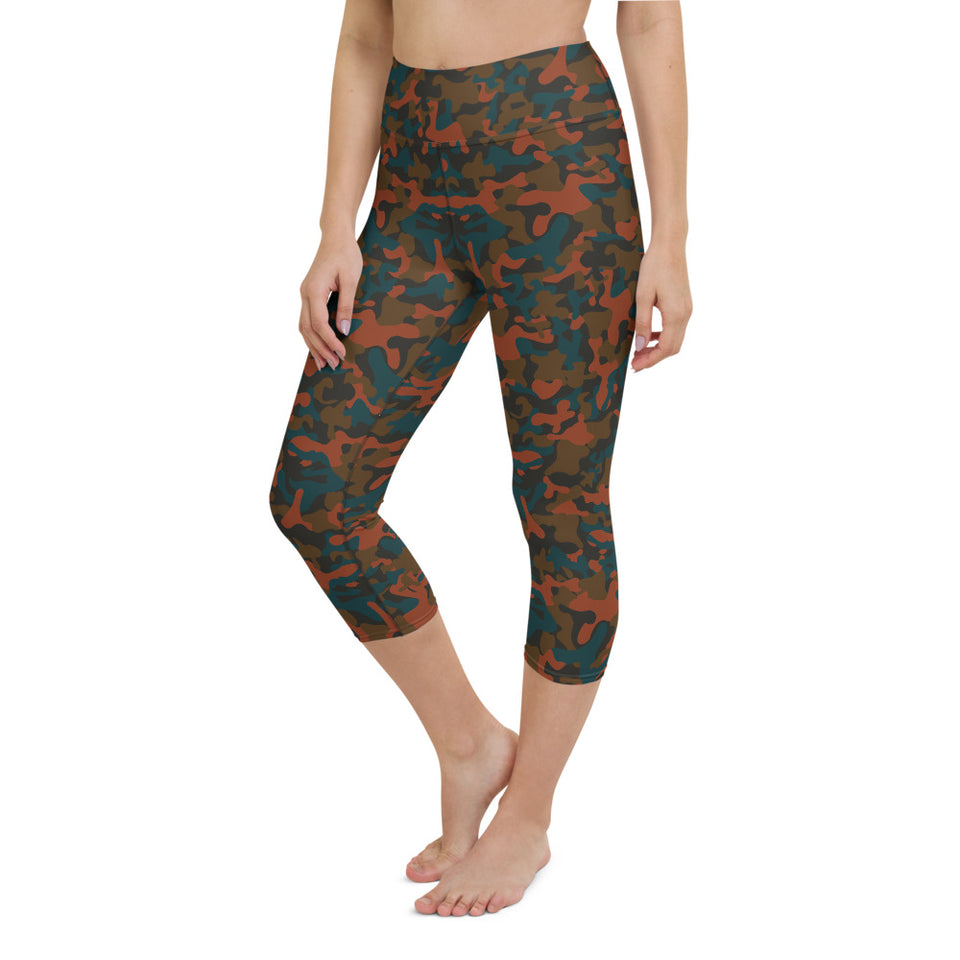 Rust Camo Yoga Capri Leggings