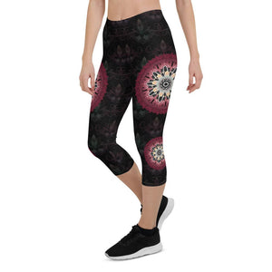 night-devi-black-and-redish-pink-mandala-chic-urban-capri-leggings-women