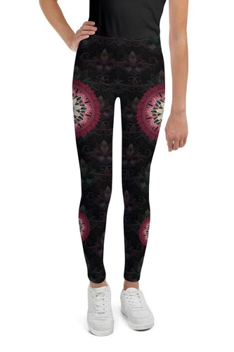 night-devi-black-and-redish-pink-mandala-chic-youth-leggings