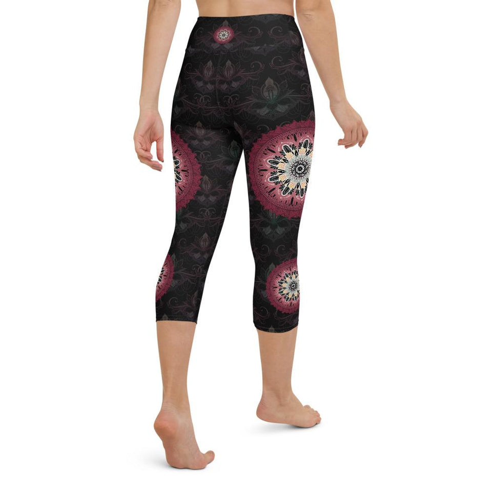 black-and-redish-pink-mandala-yoga-capri-leggings-women