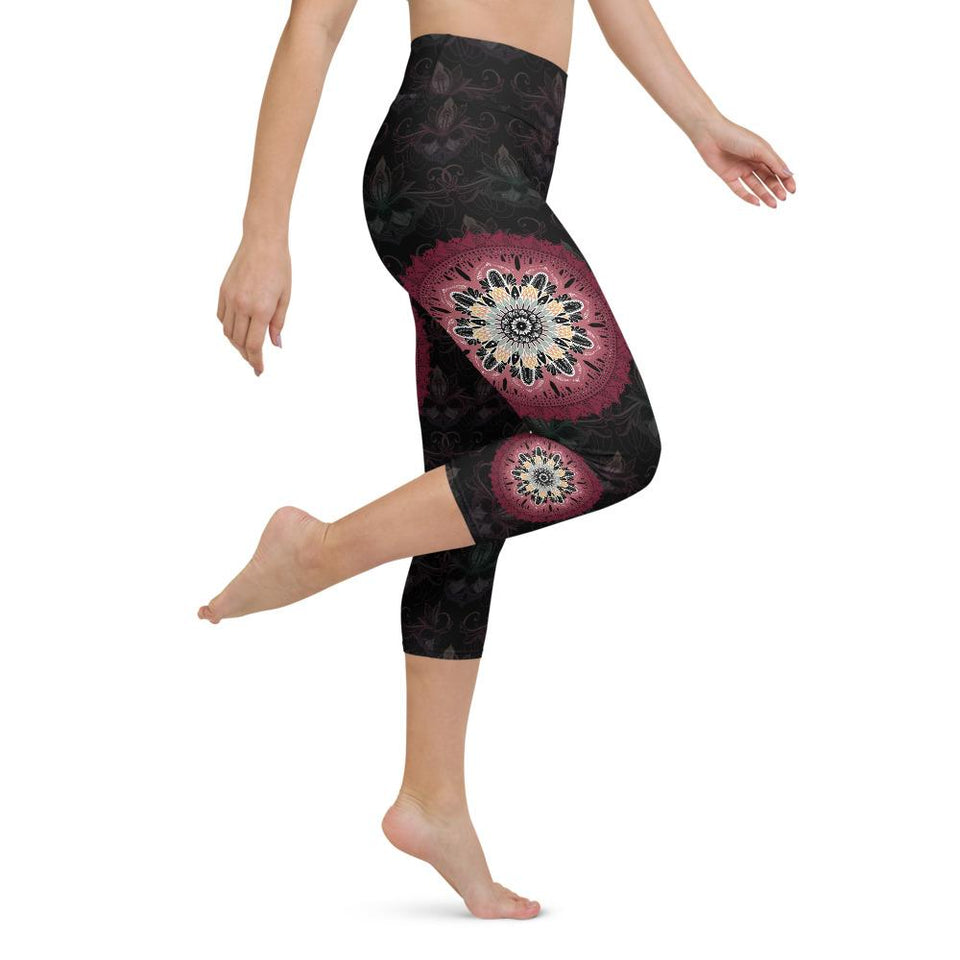 black-and-redish-pink-mandala-yoga-capri-leggings-shop-women