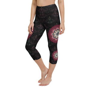 black-and-redish-pink-mandala-yoga-capri-leggings