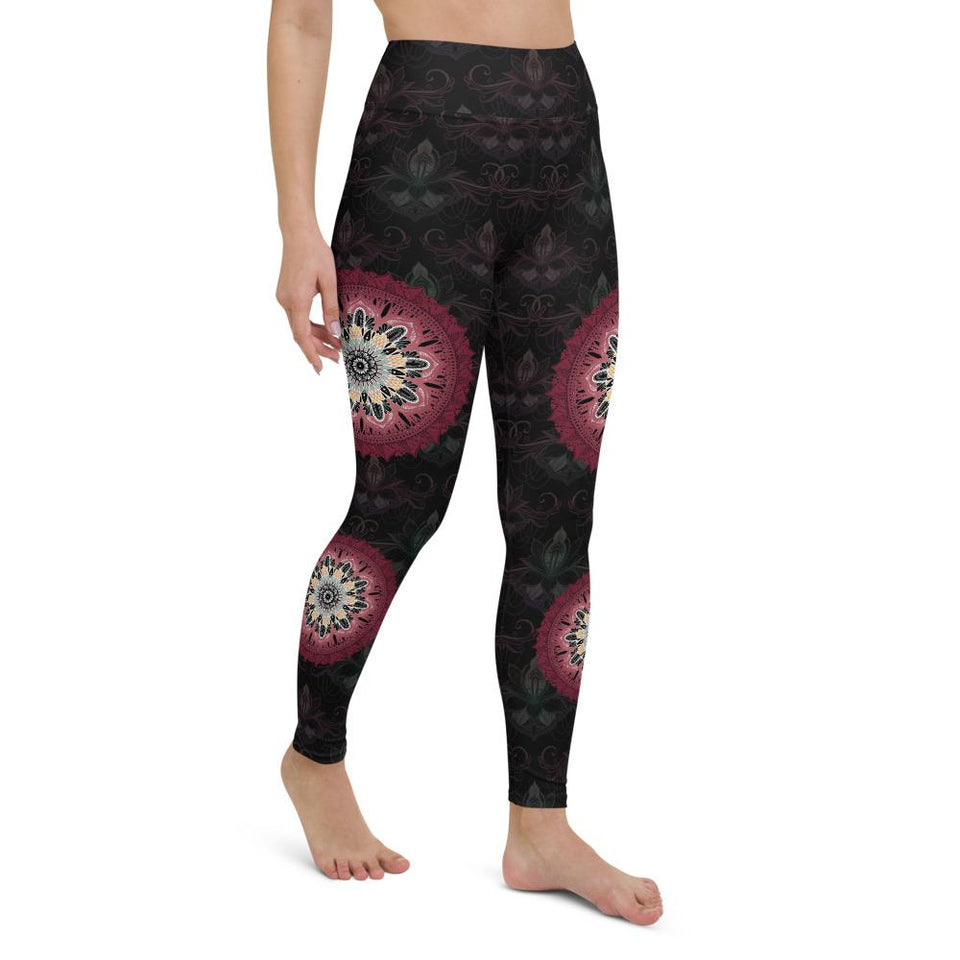 black-and-redish-pink-mandala-yoga-leggings-shop-women