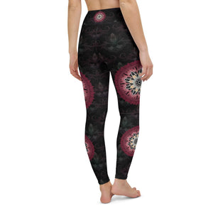 black-and-redish-pink-mandala-yoga-leggings-women