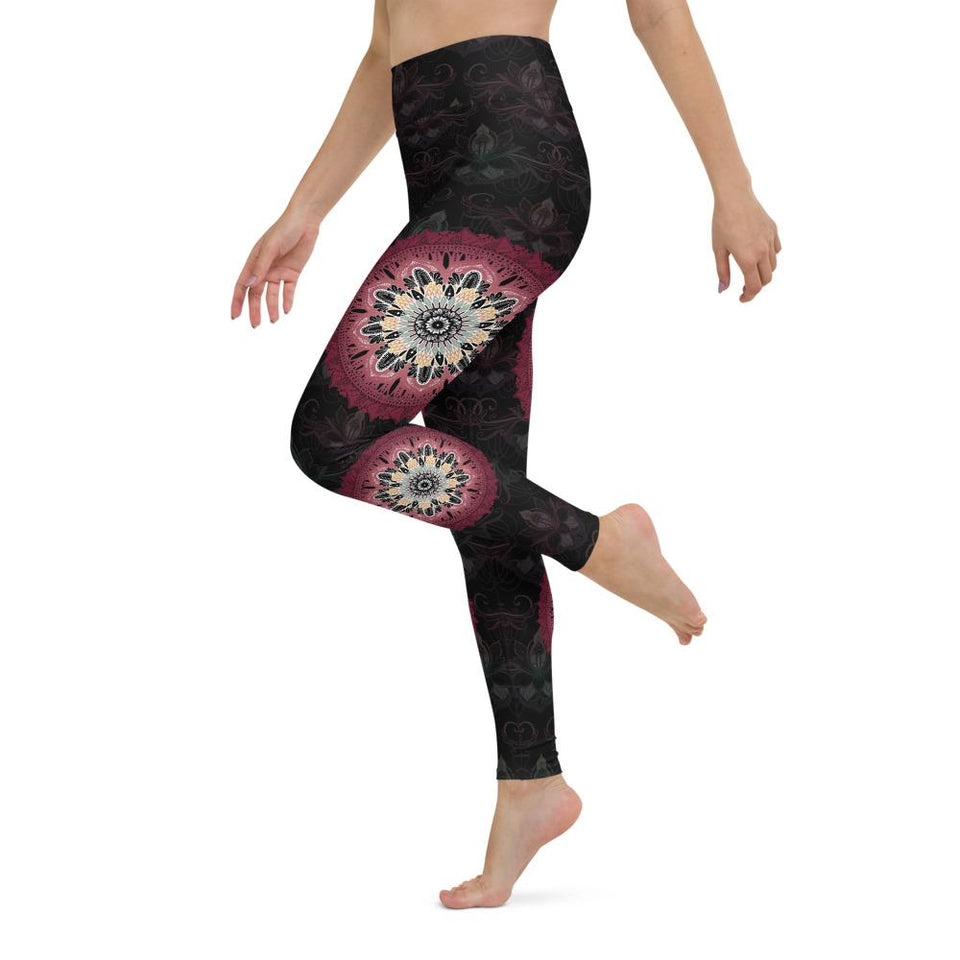 black-and-redish-pink-mandala-yoga-leggings