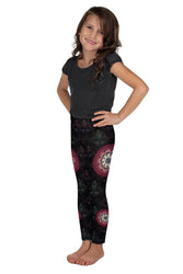 black red mandala kids girls leggings 1