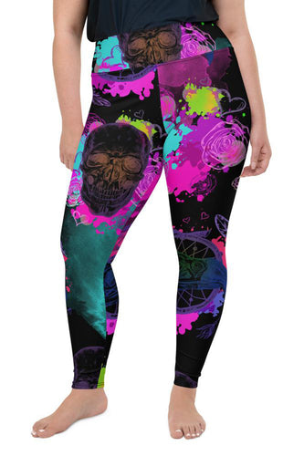 Halloween Acid Skulls Super Curvy Leggings