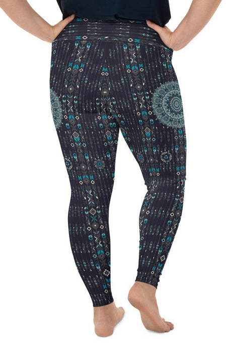 chalchi-aztec-mandala-geometric-navy-blue-jade-green-plus-size-leggings