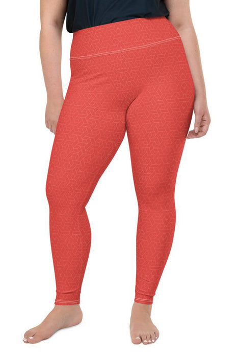 coral-red-geometric-plus-size-leggings-women