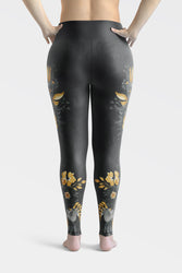 Flowers-black-grey-yellow-gold-women-plus-size-leggings-2