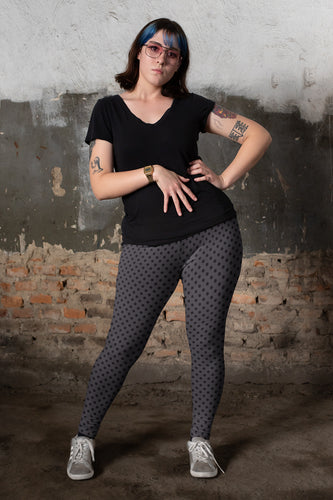 Polka Dots Charcoal Gray Black Super Curvy Leggings