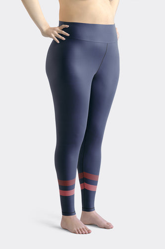 Dark Blue Sporty Stripes Super Curvy Leggings
