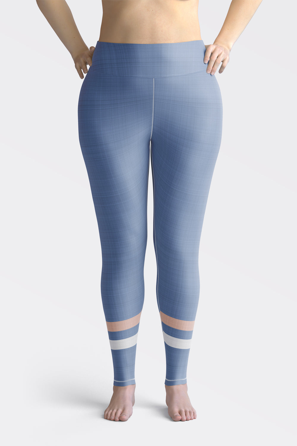 light-blue-cream-ivory-sporty-stripes-elegant-women-plus-size-leggings-chic