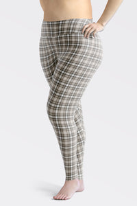 Tartan-olive-green-beige-elegant-classic-leggings-plus-size-women
