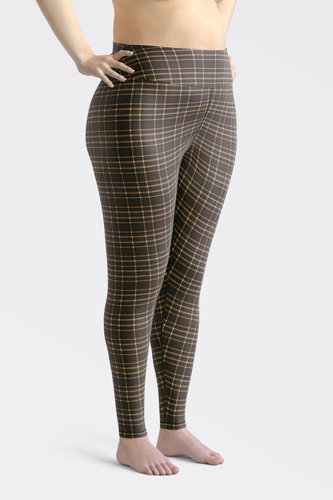 Tartan-brown-yellow-elegant-classic-leggings-women-plus-size-1