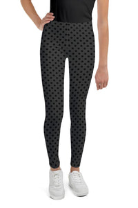 polka-dots-charcoal-gray-black-youth-leggings-teens