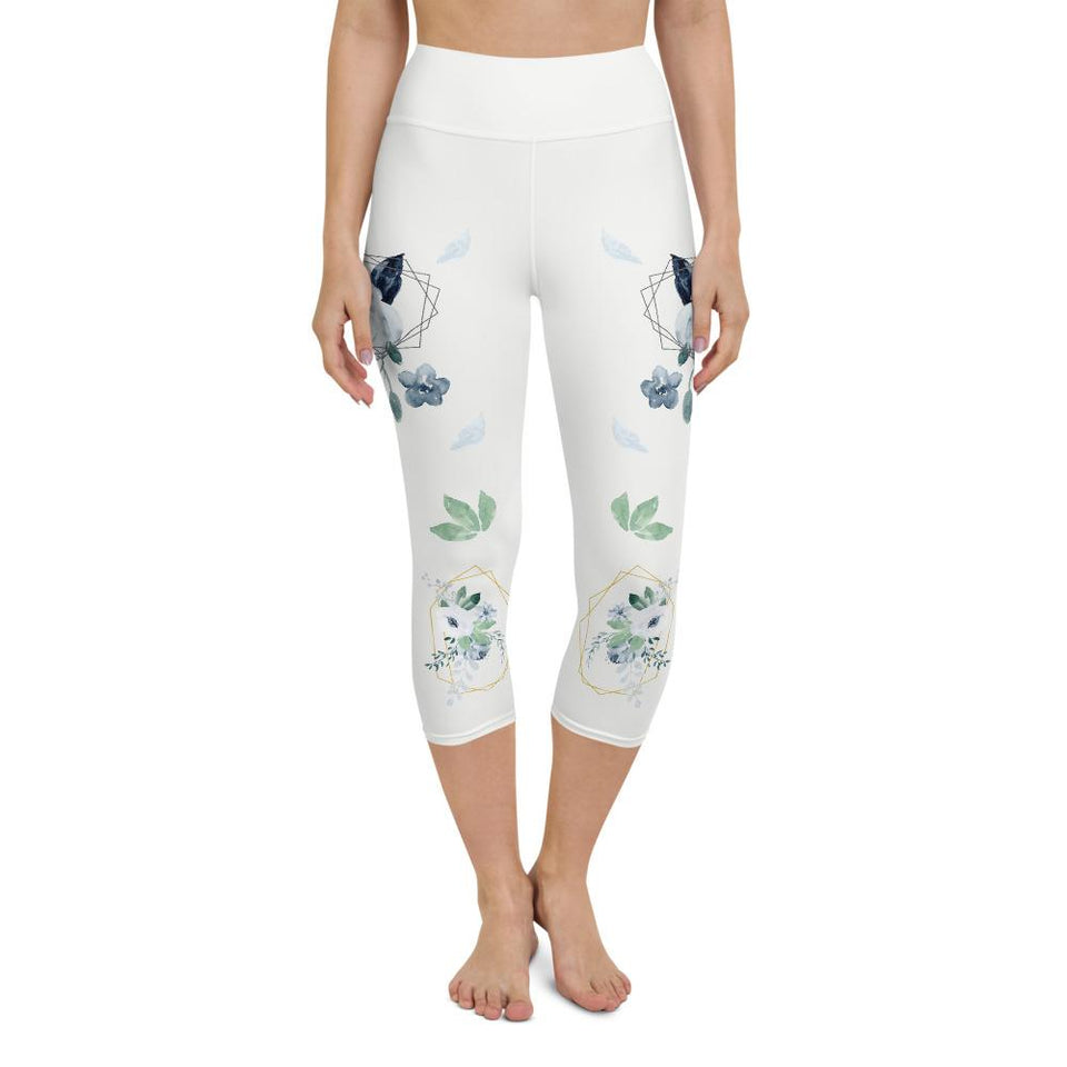Roses-white-blue-green-gold-elegant-women-yoga-capri-leggings-carolina-1