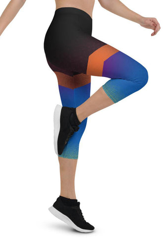 Shine Blue Urban Capri Leggings