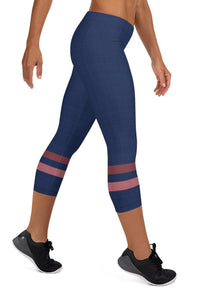 dark-blue-pink-sporty-stripes-elegant-women-urban-capri-leggings