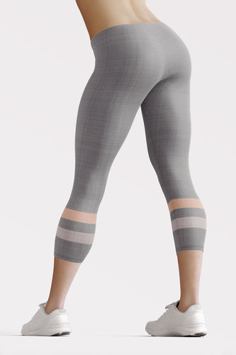Gray-Cream-sporty-stripes-women-capri-leggings