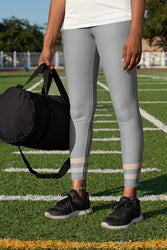 Gray-Cream-sporty-stripes-elegant-women-urban-leggings