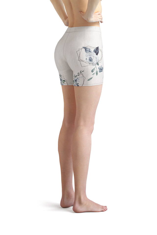 Roses-white-blue-green-gold-elegant-women-urban-shorts