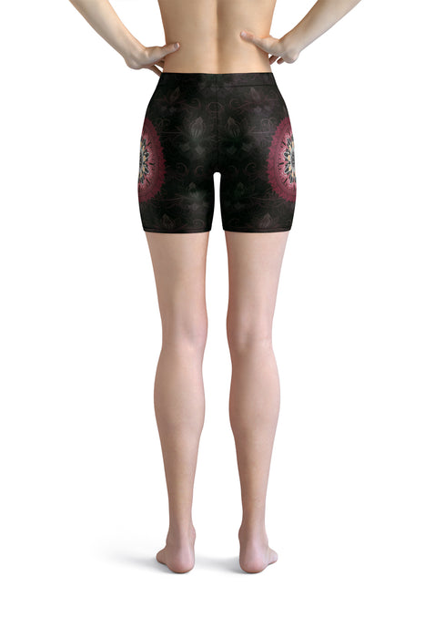 night-devi-black-and-redish-pink-mandala-chic-urban-shorts