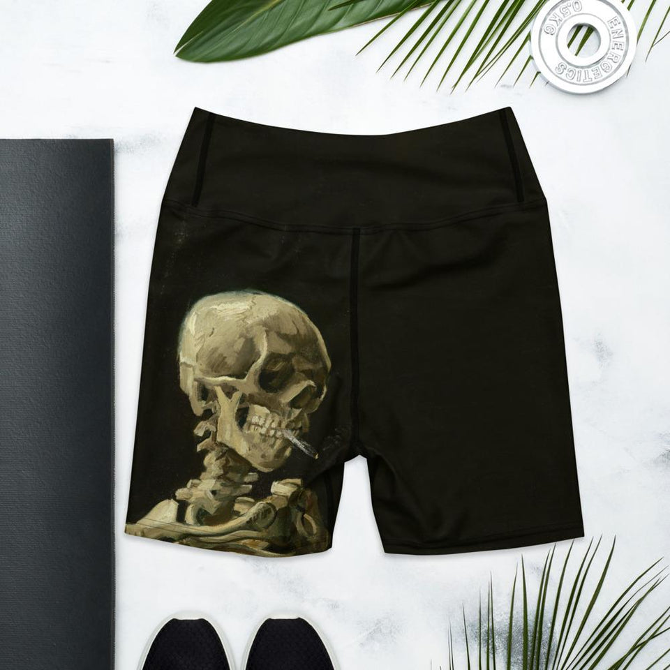 Van Gogh Skeleton Yoga Shorts