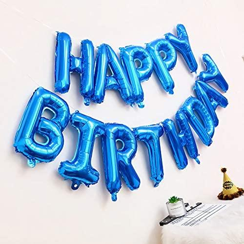 16 Inch Blue Happy Birthday Balloons Banner, Aluminum Foil Letters Balloons for Birthday Decorations Party Supplies