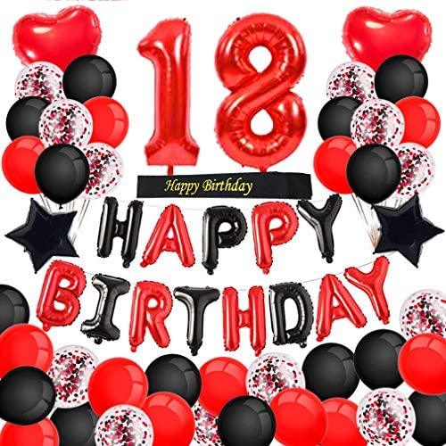 18th Birthday Decorations Red Black Happy Birthday Banner Red Number 18 Balloons Happy Birthday Sash with Latex and Confetti Balloons for Girl Women 18 and 81 Years Old Birthday Party-Red