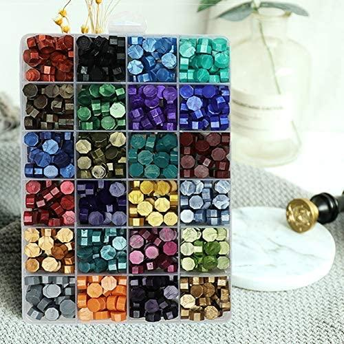 624Pcs Sealing Wax Beads, Sealing Wax for Wax Seal Stamp, Hexagon Wax Seal Beads Split Grid Box Packaged, with a Wax Spoon and 2Pcs Tea Candles (24 Colors)