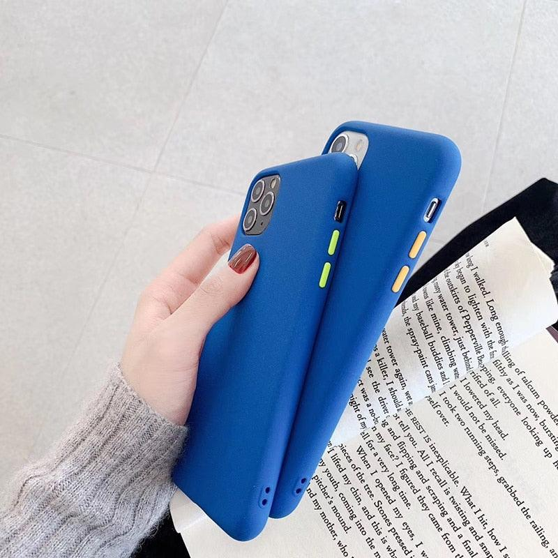 Hot Silicone Solid Blue contrast color button soft phone case for iphone 7 8 plus