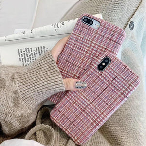 Luxury cute British plaid prepared pink Fabric Textile phone case for iphone