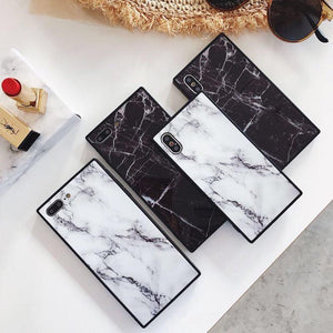 Luxury marble fashion square soft silicone phone case for 6 6S S plus 7 7plus 8