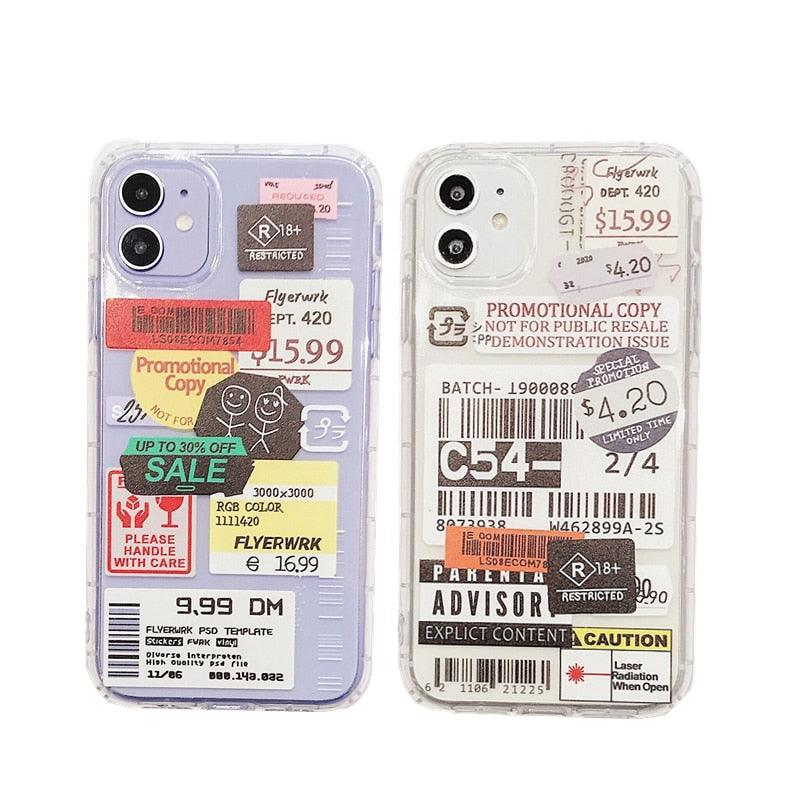 INS Funny pattern stamp label barcode soft silicone Phone Case For iPhone 11 Pro