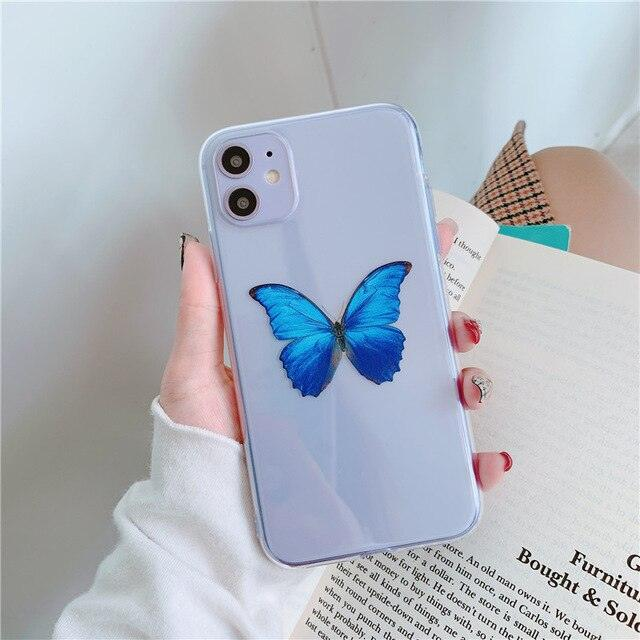 INS cute sexy butterfly pink blue transparent Shockproof phone case for iphone 11 XR