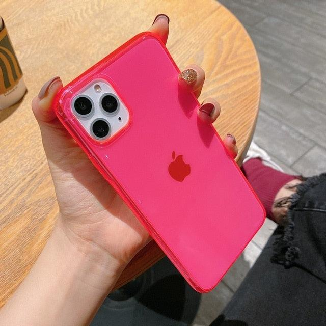 INS Hot fluorescent Shockproof transparent soft phone case for iphone 11