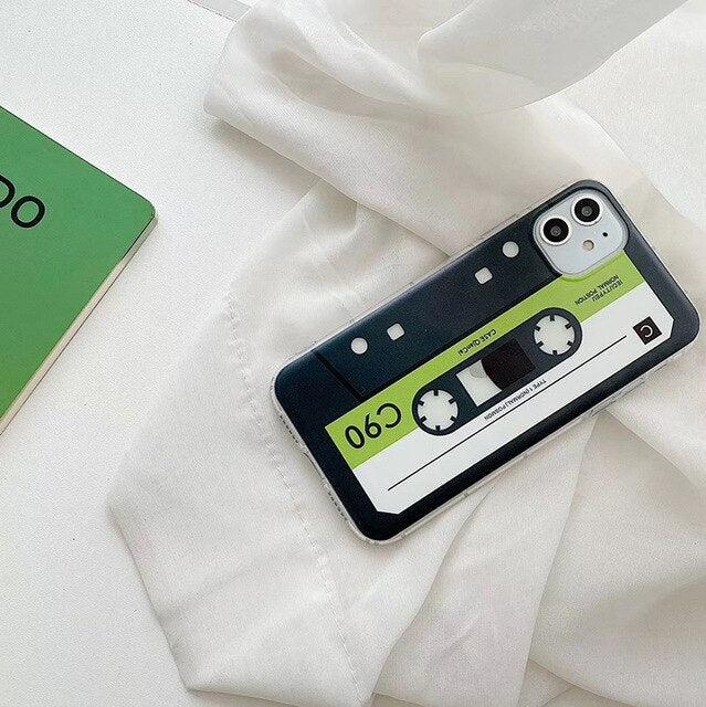 Hot Retro C90 magnetic tape Painted soft silicon phone case for apple iPhone