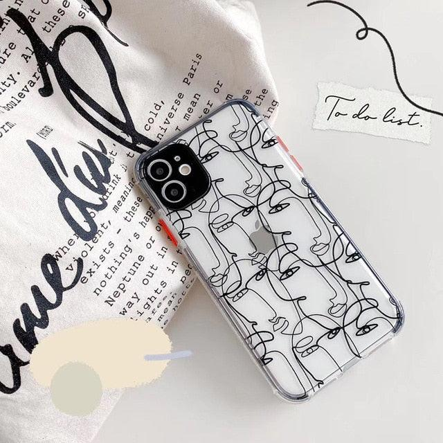 Hot abstract sketch Art face Soft silicon phone case for apple iphone 7 8 Plus X