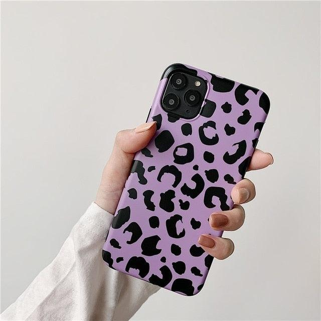 Purple Glossy Leopard Soft Imd Phone Case for Iphone 11 Pro Max 7 8 Plus