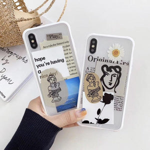 Literature Art Plaster sculpture rose Soft edge phone case for iphone X XS XR MAX 11 Pro SE
