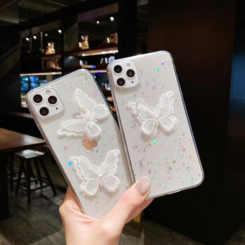 Luxury 3D butterfly Glitter soft silicon phone case for appple iphone 11 Pro Lace cover