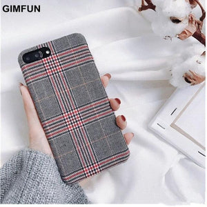 Warm Flannel Plaid Cloth Phone Case for iPhone