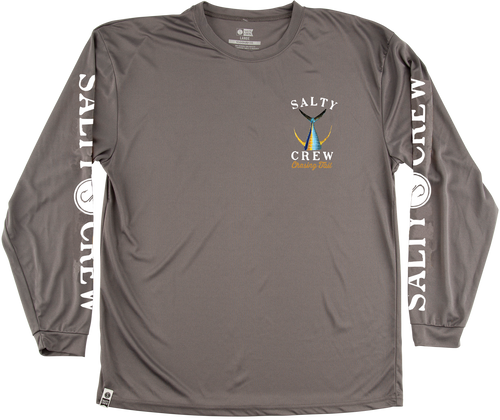 Salty Crew Men's Tailed Tech Long Sleeve Rash Guard - charcoal
